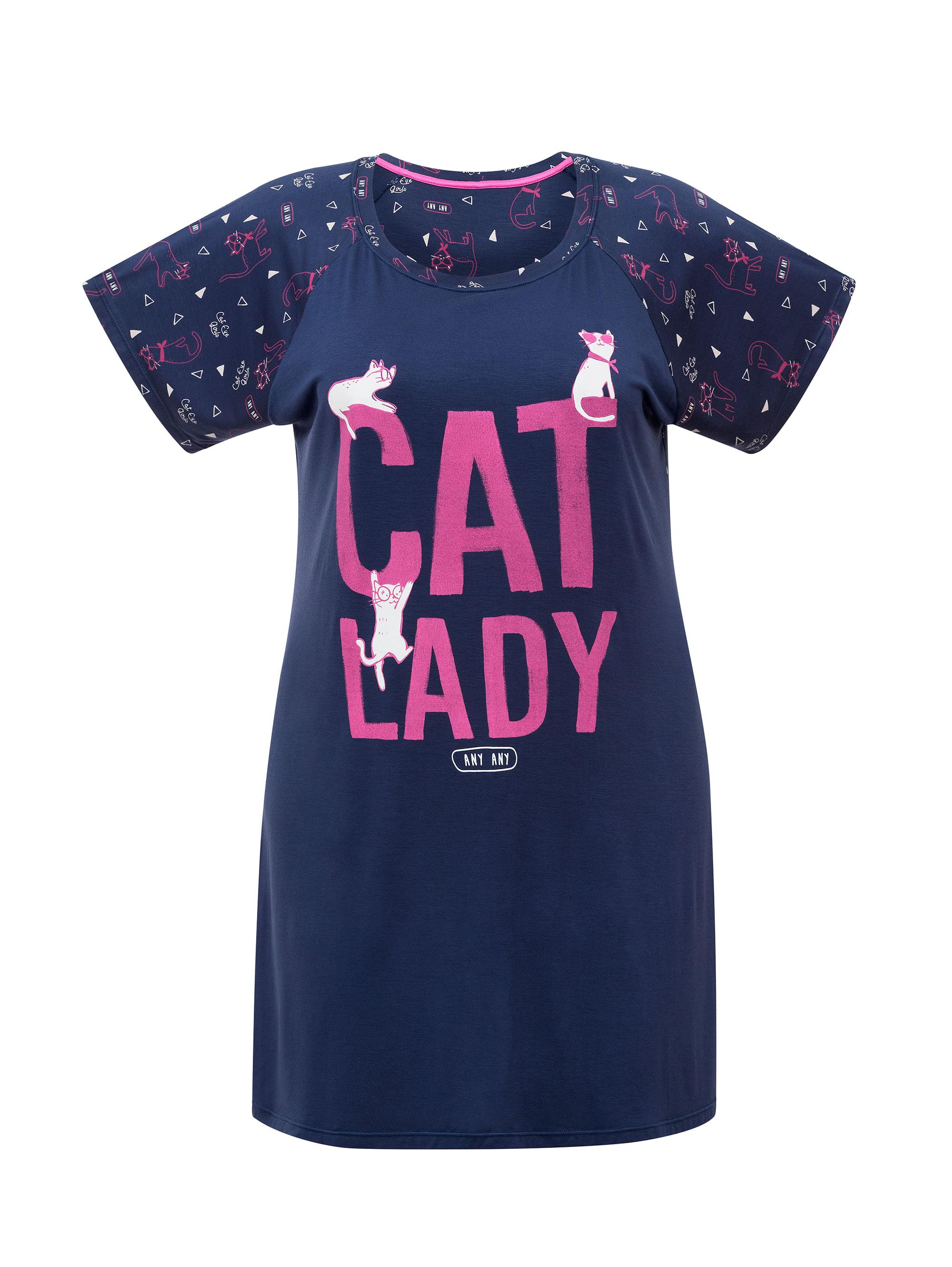 3a2512a6f Camisola Feminina Manga Curta Plus Size Cat Lady - 01.03.1090 ...