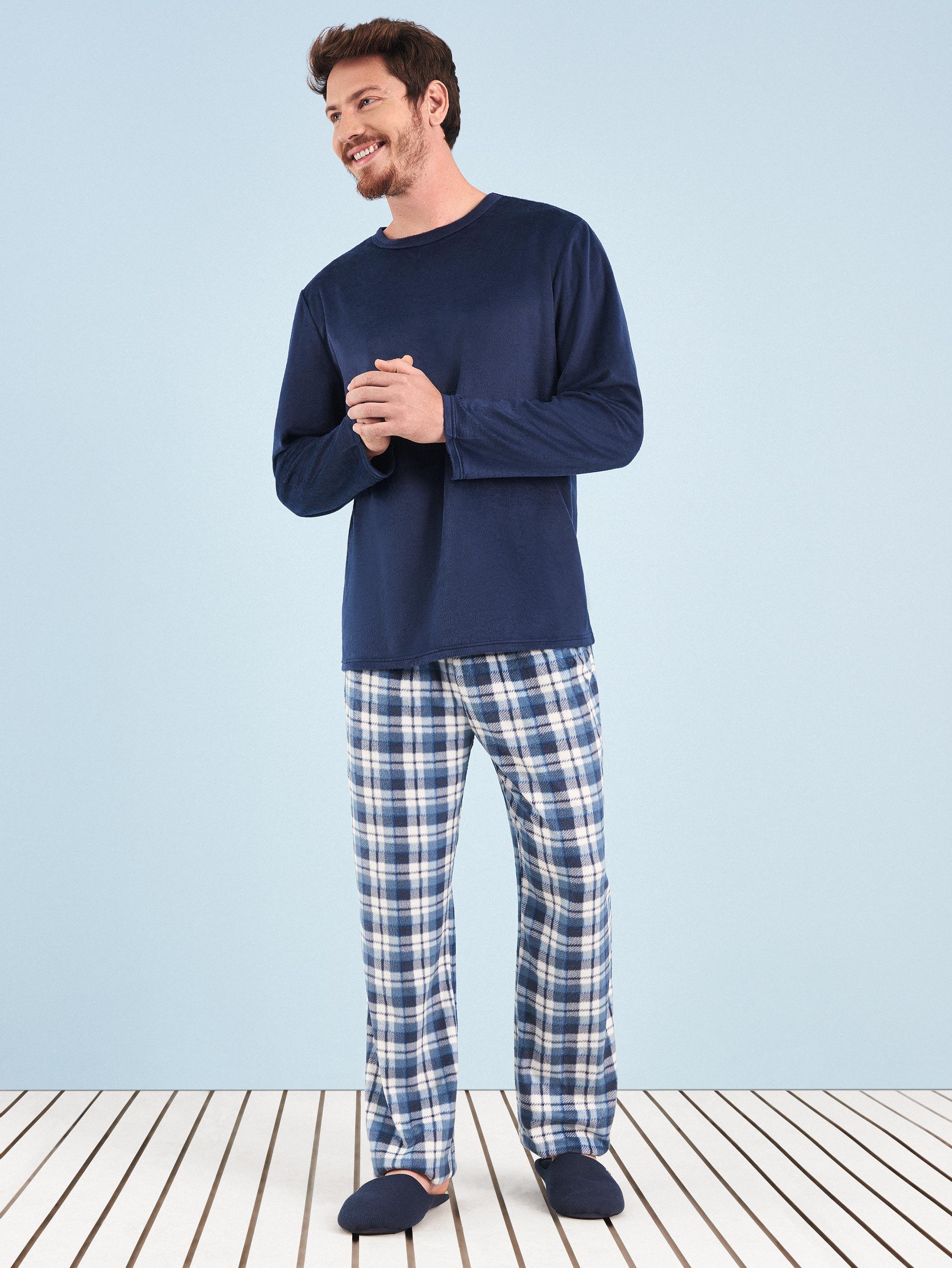 be9416608d Pijama Longo Manga Longa Soft Masculino Blue Couple